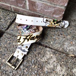 Old Skool, ED HARDY, graphic, leather belt!!